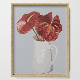 Anthurium in Vase - Red Serving Tray