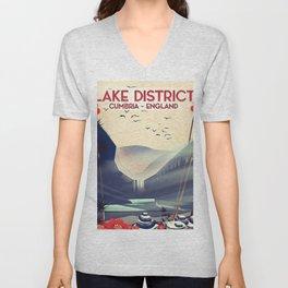 Lake district, Cumbira Travel poster. Unisex V-Neck