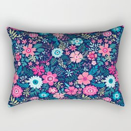 Amazing floral pattern with bright colorful flowerson a dark blue background Rectangular Pillow