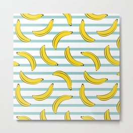 Banana summer fruits pattern on blue stripes Metal Print