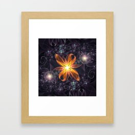 Beautiful Orange Star Lily Fractal Flower at Night Framed Art Print