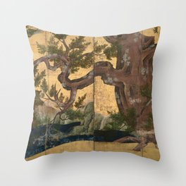 Japanese Azuchi-Momoyama-Period Eight-Panel Gold Leaf Screen - Cypress Tre Throw Pillow