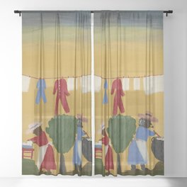 African American Masterpiece 'The Wash' portrait painting by Clementine Hunter   Sheer Curtain
