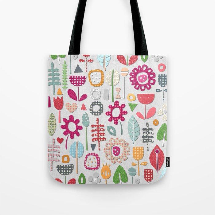 paper cut flowers silver Tote Bag