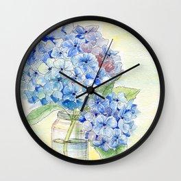 Blue Hydrangea, Still Life Wall Clock