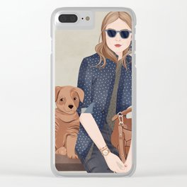 Lady In A Blue Blazer With A Puppy Clear iPhone Case