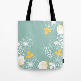 Aqua Retro Floral Tote Bag