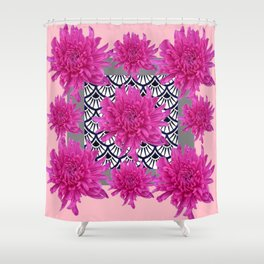GREY ART DECO FUCHSIA CHRYSANTHEMUM FLORAL Shower Curtain