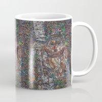 free shipping Mugs featuring Owl in a Birch Grove by Juliana Kroscen