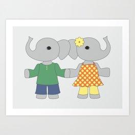 Two cute elephants. Friends illustration. Art Print