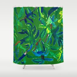 Cactus Abstract With Background Shower Curtain