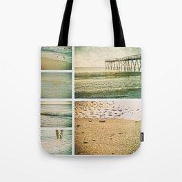 Lo-fi Oceanic Pier Wrightsville Beach NC Sunrise Vintage Tones Collage Tote Bag