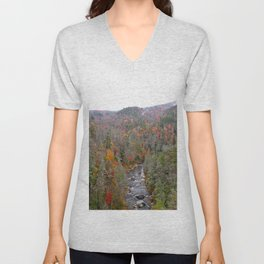 Fall Forest, Horizontal Unisex V-Neck