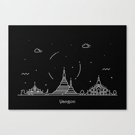 Yangon Minimal Nightscape / Skyline Drawing Canvas Print
