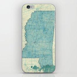 Mississippi State Map Blue Vintage iPhone Skin