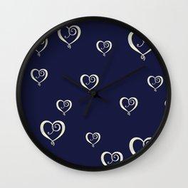 Polka Heart Party Wall Clock