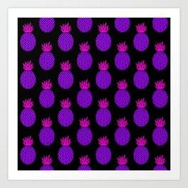 Purple Disco Pineapples Art Print