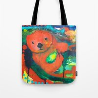 otter Tote Bags featuring Otter by Silke Powers