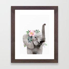 Baby Elephant with Flower Crown Framed Art Print