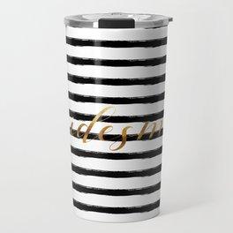 Bridesmaid & Stripes - Gold / Black Travel Mug