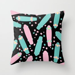 Pastel Skateboards Pattern - Pastel on Black Throw Pillow