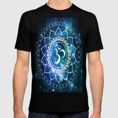 Om Mandala : Blue Green Galaxy MEDIUM Mens Fitted Tee Black