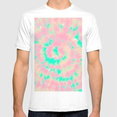Modern boho hippie hand painted pink turquoise orange tie dye watercolor White Mens Fitted Tee MEDIUM