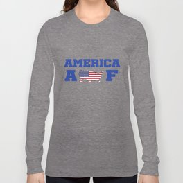 4th of July Independence Day Shirts for Girls and Boys America AF More Sizes Long Sleeve T-shirt