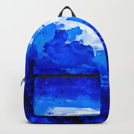 cloudy sky blue turquoise splatter watercolor Backpack