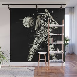 Space Baseball Astronaut Wall Mural