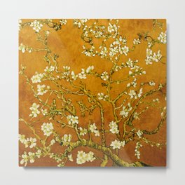 Almond Blossoms- Orange Metal Print