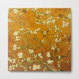 Almond Blossoms- Orange Metal Print