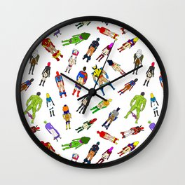 Superhero Butts with Villians - Light Pattern Wall Clock