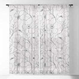 Floral Simplicity - Neutral Black Sheer Curtain