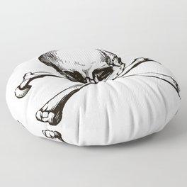 Skull and Crossbones | Jolly Roger | Pirate Flag | Black and White | Floor Pillow