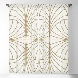 Diamond Series Inter Wave Gold on White Blackout Curtain
