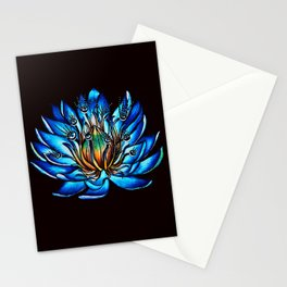 Multi Eyed Blue Water Lily Flower Stationery Cards