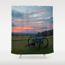 Gettysburg Cannon Sunset Shower Curtain