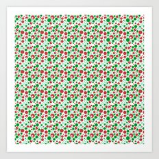 Circle Pattern Holiday Red Green and White Art Print