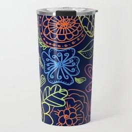 Bright Flowers on Navy Travel Mug