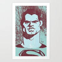 man of steel Art Prints featuring THE MAN OF STEEL by nachodraws