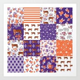 University clemson orange and purple quilt pattern tiger pattern gifts college sports football Art Print