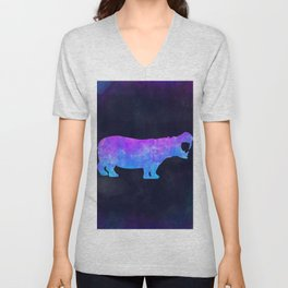 HIPPO IN SPACE // Animal Graphic Art // Watercolor Canvas Painting // Modern Minimal Cute Unisex V-Neck