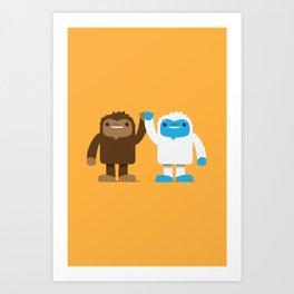 Bigfoot and Yeti Bros - High Five Art Print