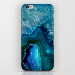 Teal Blue Agate iPhone Skin