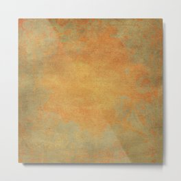 Grunge Garden Canvas Texture:  Ancient Gold Floral Abstract Metal Print