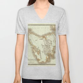 Map Of Tasmania 1830 Unisex V-Neck