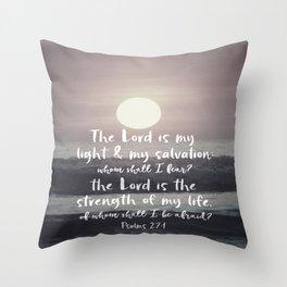 Ocean Sunrise with Psalms Light Salvation Bible Verse Throw Pillow