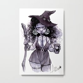 Coffee Witch Metal Print