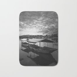 Boat on Water (Black and White) Bath Mat